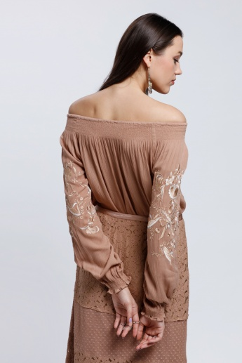 Embroidered Off Shoulder Top with Long Sleeves