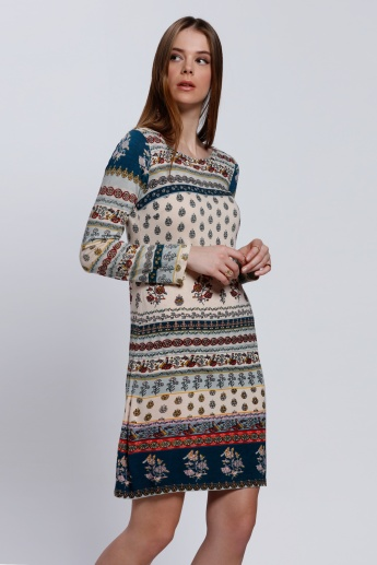 Printed Long Sleeves Dress with Round Neck