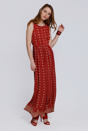 Printed Sleeveless Dress with Round Neck and Keyhole Closure