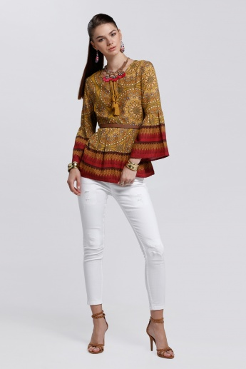 Printed Top with Tie Up Neck and Bell Sleeves