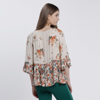 Floral Print Top with Boat Neck and 3/4 Sleeves