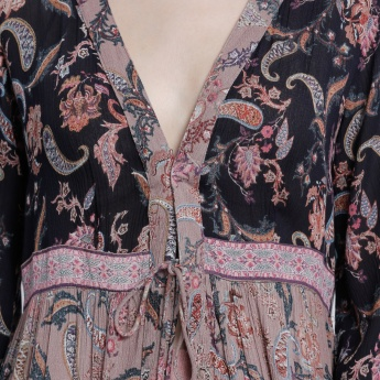 Printed Long Shrug with Long Sleeves