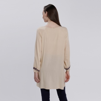 Embroidered Round Neck Top with Long Sleeves and High Low Hem
