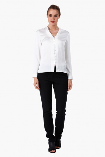 Formal Shirt with Mandarin Collar and Long Sleeves