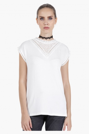 Sleeveless Knit Top with Yoke Details in Regular Fit