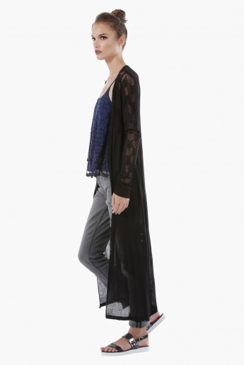 Knitted Maxi Outerwear with Long Sleeves