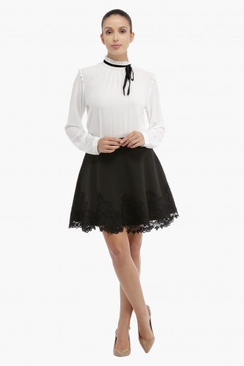 Long Sleeves Textured Top with Frill Detail