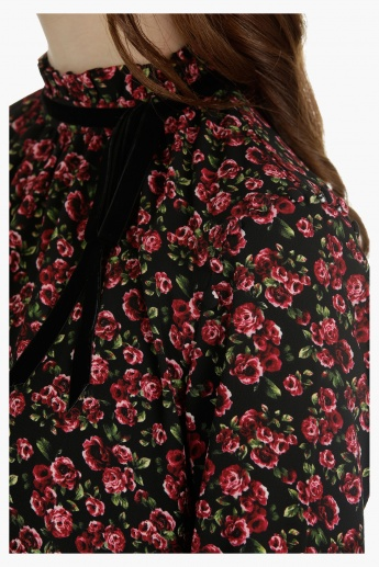 Floral Print Top with Victoria Neck