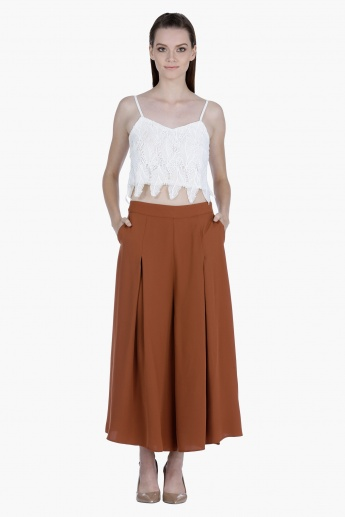 Pleated Palazzo with Side Pockets