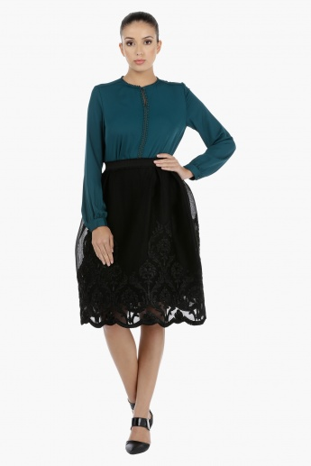 Long Sleeves Blouse with Lace Detailing