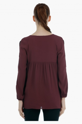 Long Sleeves Cold Shoulder Top with Tie Ups