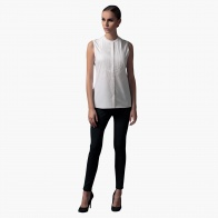 Sleeveless Shirt with Pleated Bib in Regular Fit