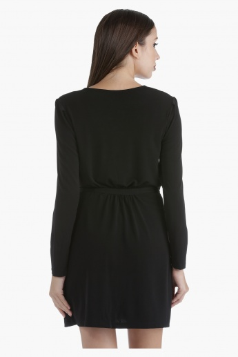 Cowl Neck Dress with Tie-Up Waist and Full Sleeves in Regular Fit