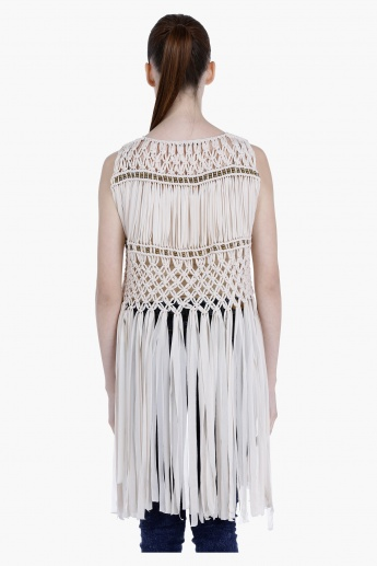 Bead Embellished Fringed Shrug with Open Front