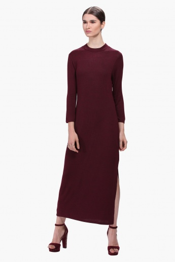 High Neck Sweater Dress with 3/4th Sleeves
