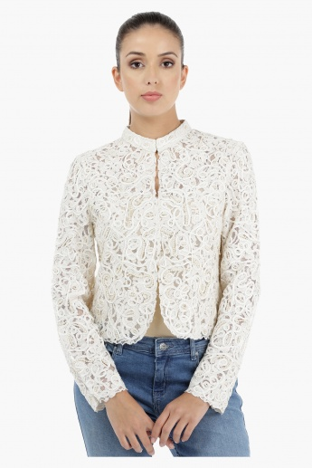 Embellished Lace Jacket with Long Sleeves
