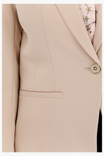 Blazer with Notch Collar and Long Sleeves