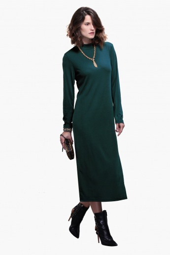 Textured Long Sleeves Maxi Dress with Slit