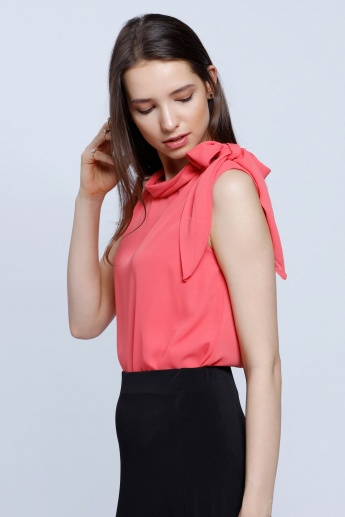 Double Layered Sleeveless Bow Top