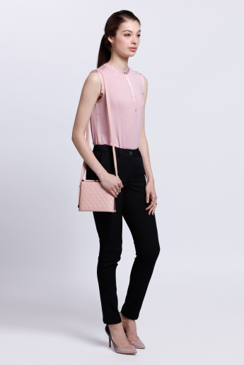 Sleeveless Top with Mandarin Collar