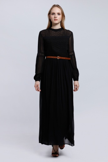 Long Sleeves Maxi Dress with Lace Detail