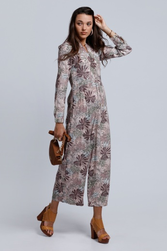 Printed Jumpsuit with Long Sleeves and Pocket Detail
