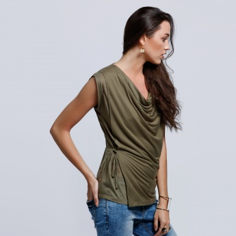 Eco Friendly Cowl Neck Top with Tie Up