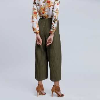 Pleated Culottes Pants with Elasticised Waistband