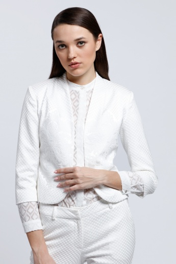 Textured Jacket with Long Sleeves