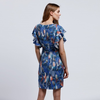 Printed Dress with Frilled Sleeves
