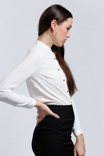 Long Sleeves Shirt with Mandarin Collar