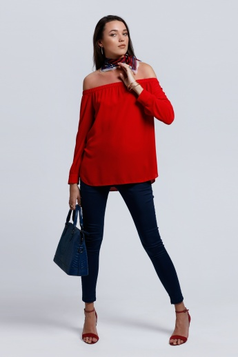 Regenerated Off Shoulder Top with Long Sleeves