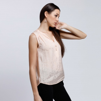 Jacquard Printed Sleeveless Top