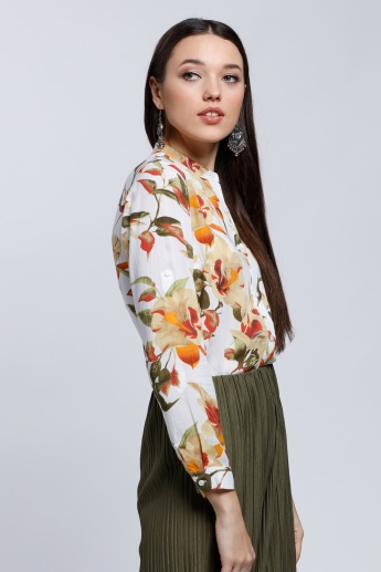 Printed Long Sleeves Shirt with Mandarin Collar