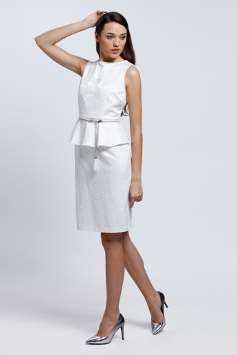 Textured Peplum Dress with Boat Neck and Tie Up