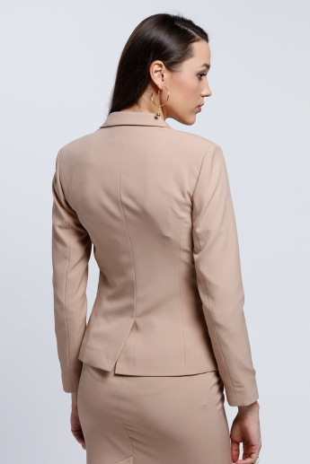 Long Sleeves Blazer with Notch Collar and Button Closure