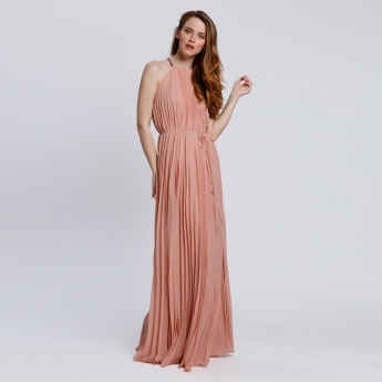 Pleated Maxi Dress with Chain Neck
