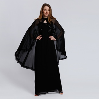 Embellished Cape with High Low Hem