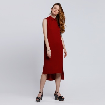 Sleeveless Round Neck Tunic with High Low Hem
