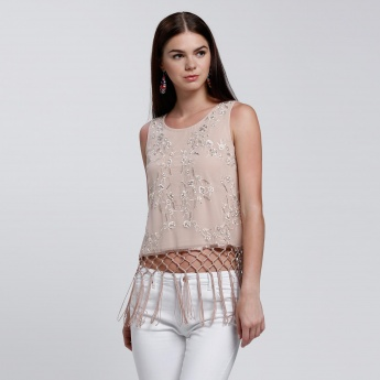 Embroidered Crop Top with Fringes