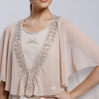 Asymmetrical Shrug with Floral Embellishment