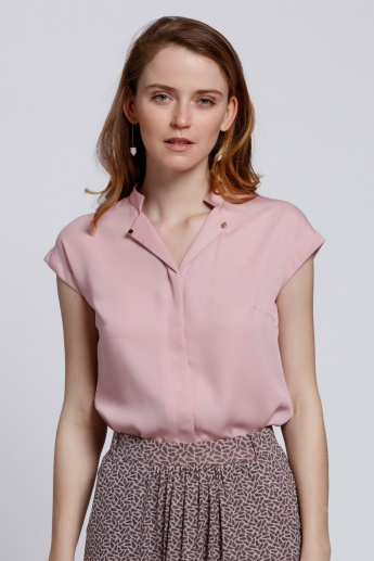 Cap Sleeves Top with Concealed Placket