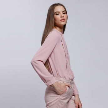 Long Sleeves Top with Mandarin Collar