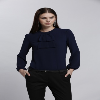 Round Neck Top with Long Sleeves and Frilled Detail