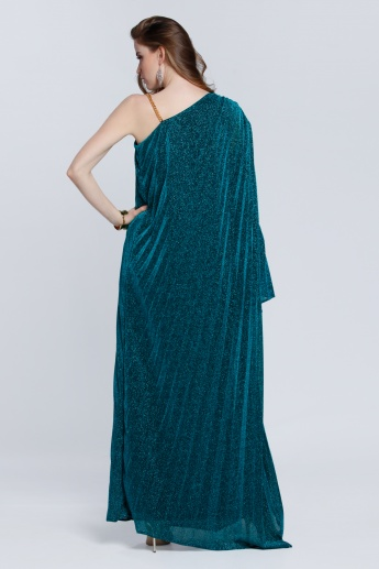 Textured One Shoulder Maxi Dress