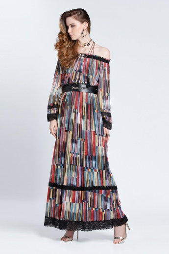 Printed Off Shoulder Long Sleeves Maxi Dress