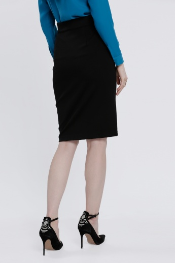 Pencil Skirt with Zippered Closure and Slit