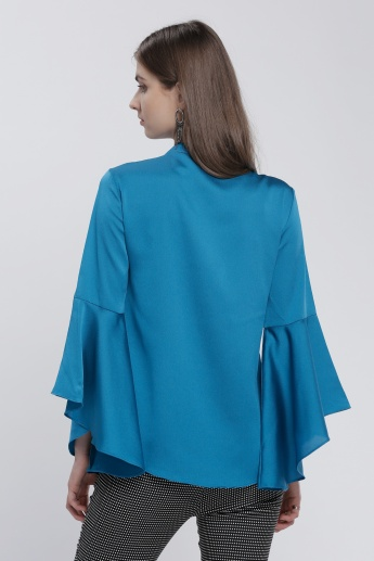 Top with Mandarin Collar and Ruffle Sleeves