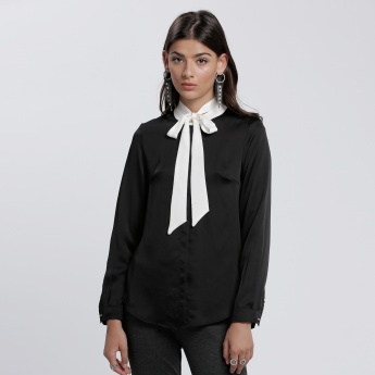 Tie Up Neck Blouse with Long Sleeves