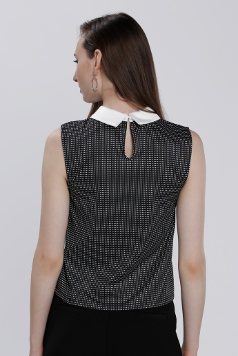 Printed Sleeveless Top with Peter Pan Collar